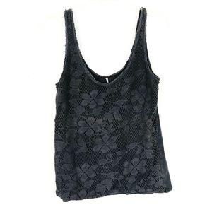 Free People Dark Grey Floral Lace Tank Top